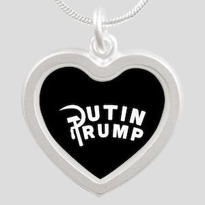Putin Trump Silver Heart Necklace