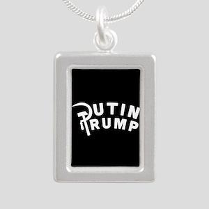 Putin Trump Silver Portrait Necklace