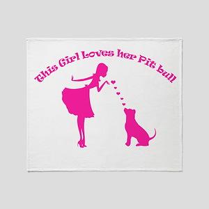 loves her pit bull Throw Blanket