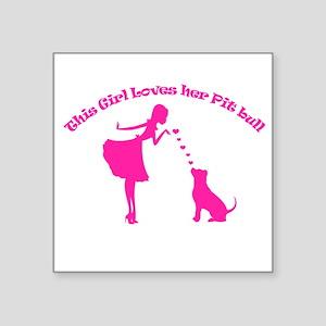 loves her pit bull Sticker