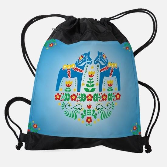 Swedish Dala Horse Drawstring Bag