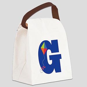 Letter G Kite Monogram Initial G Canvas Lunch Bag