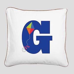 Letter G Kite Monogram Initial G Square Canvas Pil