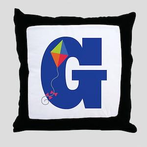 Letter G Kite Monogram Initial G Throw Pillow