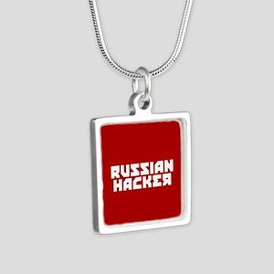 Russian Hacker Silver Square Necklace