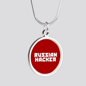 Russian Hacker Silver Round Necklace