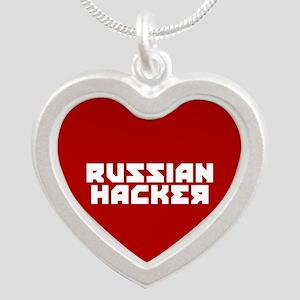 Russian Hacker Silver Heart Necklace