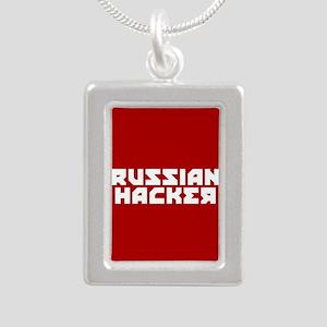 Russian Hacker Silver Portrait Necklace