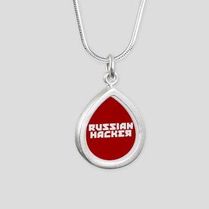 Russian Hacker Silver Teardrop Necklace