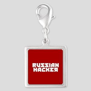 Russian Hacker Silver Square Charm