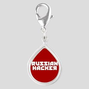 Russian Hacker Silver Teardrop Charm