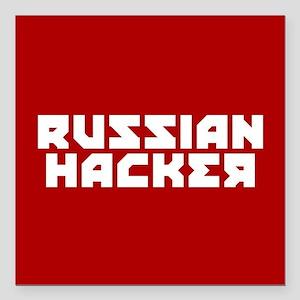 "Russian Hacker Square Car Magnet 3"" x 3"""