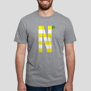 Norwich City Stripes Yellow Mens Tri-blend T-Shirt