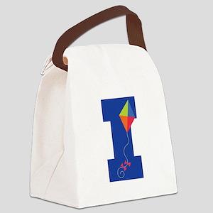 Letter I Kite Monogram Initial I Canvas Lunch Bag