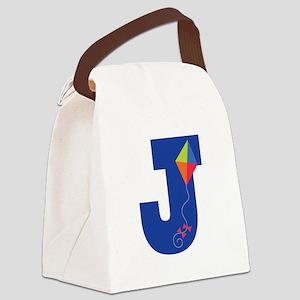 Letter J Kite Monogram Initial J Canvas Lunch Bag
