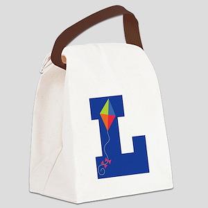 Letter L Kite Monogram Initial L Canvas Lunch Bag