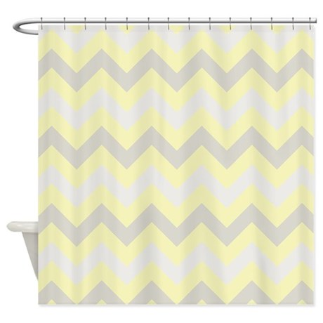 Modern yellow grey ZigZag Shower Curtain