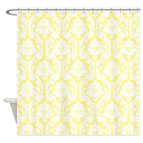 Incroyable Light Yellow Damask Shower Curtain