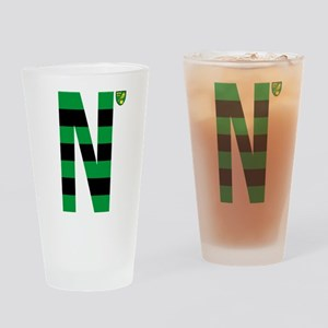 Norwich City Stripes Green and Blac Drinking Glass