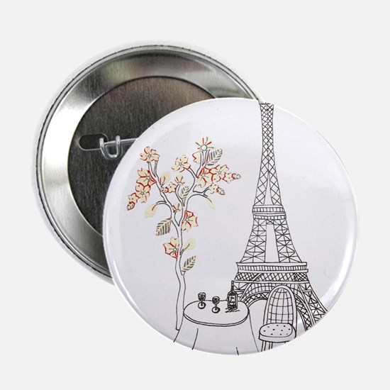 Eiffel Tower with Table and Blossom Tree in Pink 2