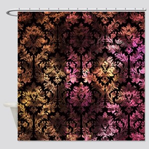 pink and yellow shower curtain. Damask Pattern On Pink And Yellow Shower Curtain Yellow Curtains  CafePress