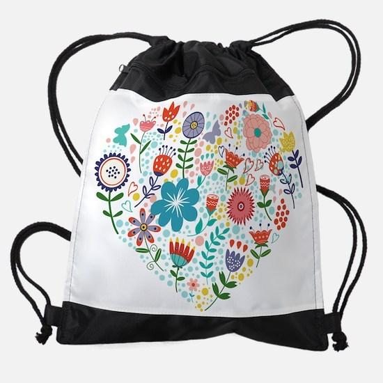 Cute Colorful Floral Heart Drawstring Bag
