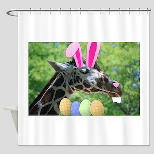 Easter Giraffe Shower Curtain