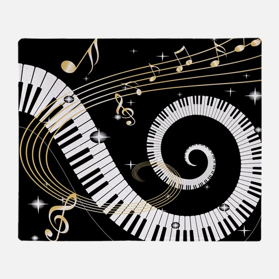 Piano and musical notes Throw Blanket