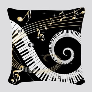 Piano and musical notes Woven Throw Pillow