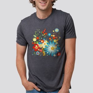 Colorful explosion of flowe Mens Tri-blend T-Shirt