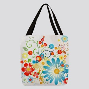 35528b934461 Colorful explosion of flowers Polyester Tote Bag