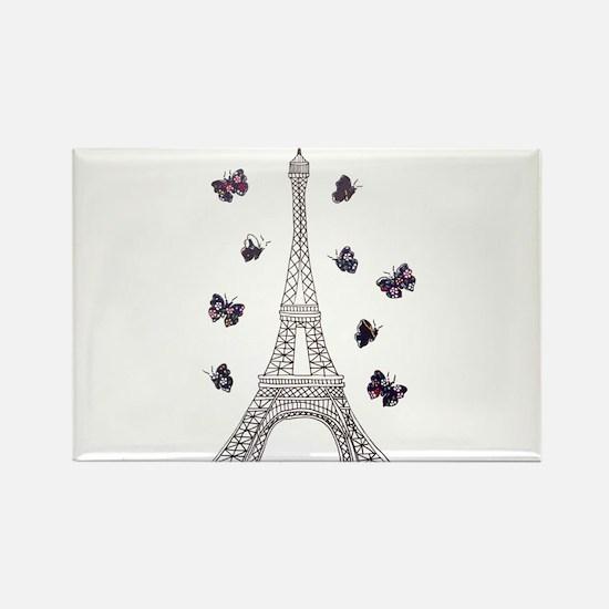 Eiffel Tower with Dark Butterflies Rectangle Magne