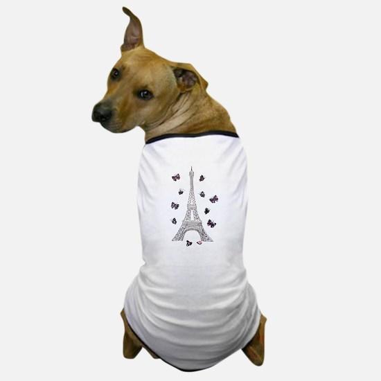 Eiffel Tower with Dark Butterflies Dog T-Shirt