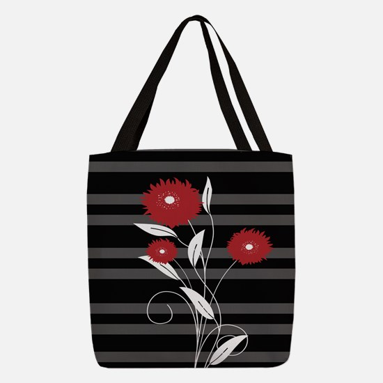 Modern red Black and gray flora Polyester Tote Bag