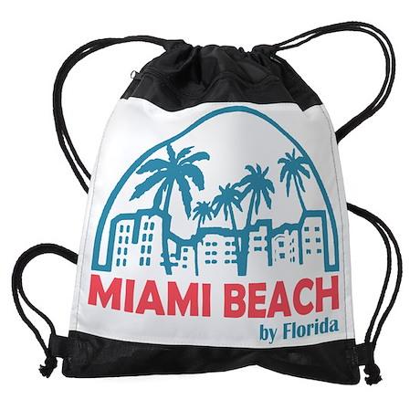 Summer miami beach- florida Drawstring Bag