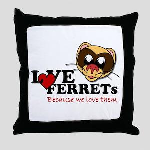 Love Ferrets Logo Throw Pillow