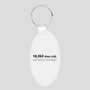 50th Birthday Aluminum Oval Keychain