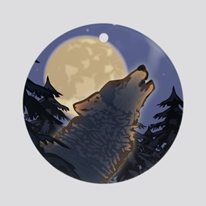 Howling Wolf Ornament (Round)