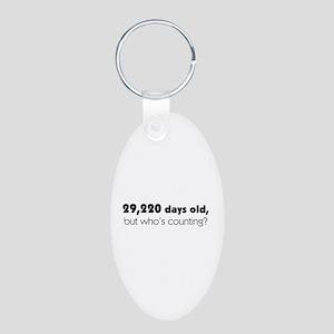 80th Birthday Aluminum Oval Keychain