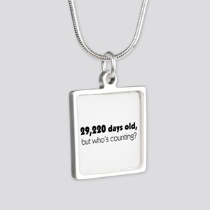 80th Birthday Silver Square Necklace