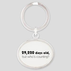 80th Birthday Oval Keychain