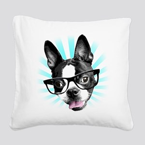 Cute! Hipster Boston Terrier Square Canvas Pillow