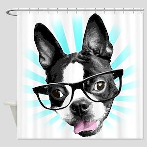 Cute! Hipster Boston Terrier Shower Curtain