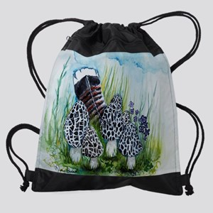 Morel Mushrooms and Turkey Feather Drawstring Bag
