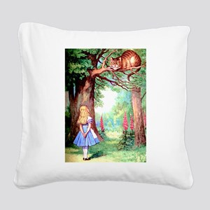 Alice & The Cheshire Cat Square Canvas Pillow