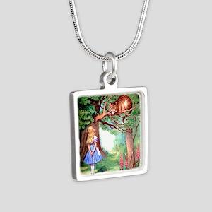 Alice & The Cheshire Cat Silver Square Necklace