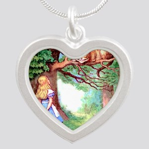 Alice & The Cheshire Cat Silver Heart Necklace