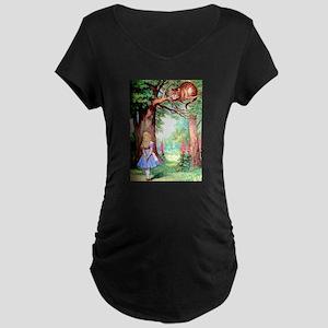 Alice & The Cheshire Cat Maternity Dark T-Shirt