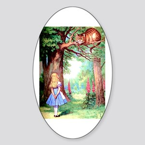 Alice & The Cheshire Cat Sticker (Oval)