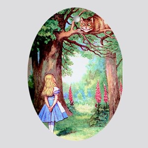 Alice & The Cheshire Cat Ornament (Oval)